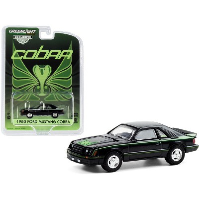 1980 Ford Mustang Cobra Black with Green Cobra Hood Graphics and Stripe Treatment 1/64 Diecast Model Car by Greenlight