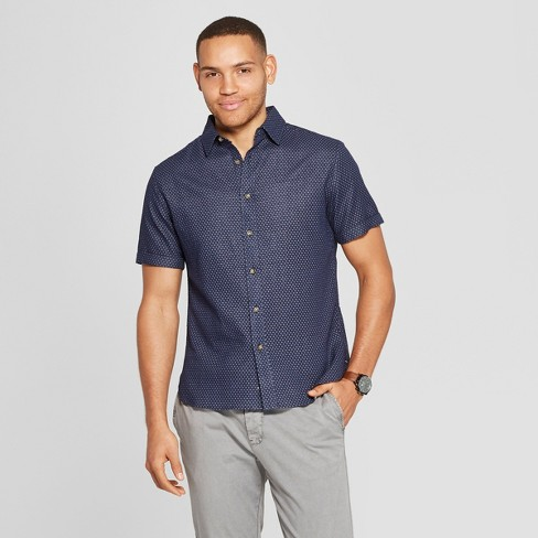 5c9e4d02d Men's Polka Dot Short Sleeve Novelty Button-Down Shirt - Goodfellow & Co™  Xavier Navy : Target