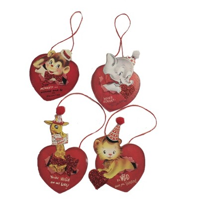 """Valentine's Day 3.5"""" Wild About You Dummy Boards Ornament Set 4 Vintage Animal Bethany Lowe Designs, Inc.  -  Tree Ornaments"""
