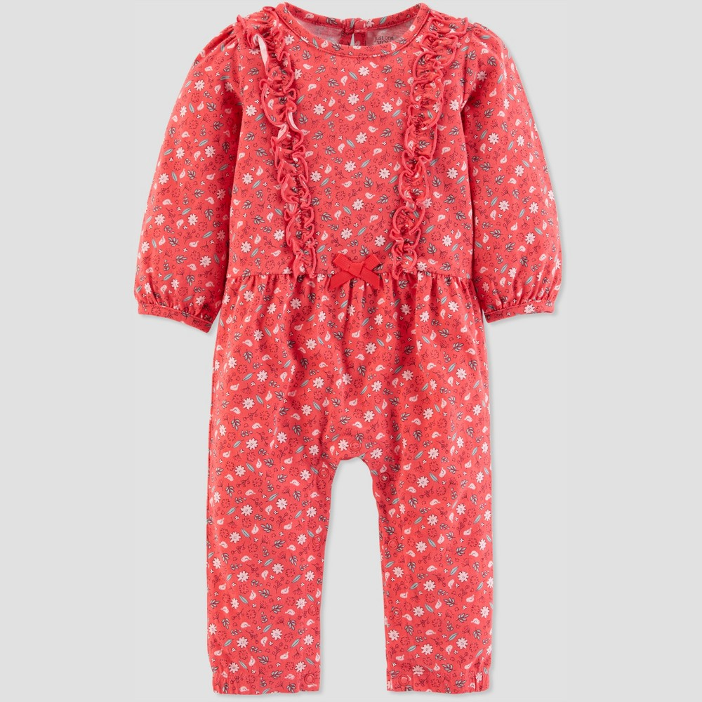 Baby Girls' 1pc Floral Jumpsuit - Just One You made by carter's Pink 12M