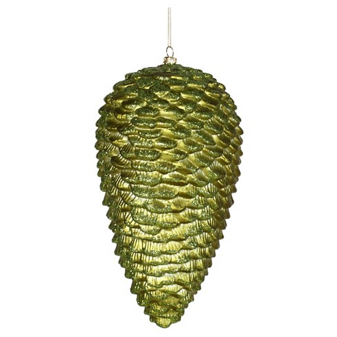"10"" Dark Olive Matte/Glitter Pinecone Christmas Ornament - image 1 of 1"