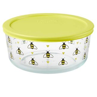 Pyrex 7 Cup Glass Bee Happy Food Storage Container Yellow