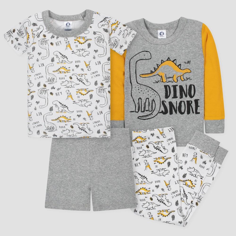 Gerber Toddler Boys' 4pc Dinosaurs Long Sleeve Pajama Set - Gray/Gold 3T