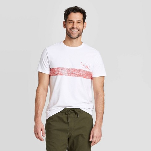 Men's Standard Fit Short Sleeve Crew Neck Chest Stripe Graphic T-Shirt - Goodfellow & Co™ White - image 1 of 3