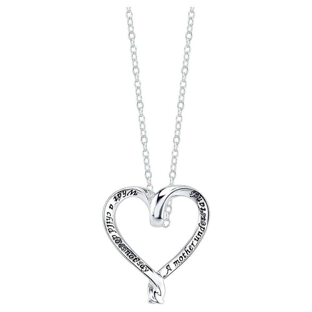 "Women's Sterling Silver A mother understand heart necklace - Silver (18.5"")"