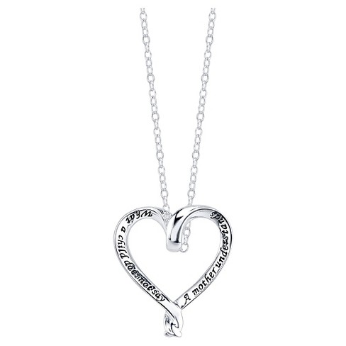 "Women's Sterling Silver A mother understand heart necklace - Silver (18.5"") - image 1 of 2"