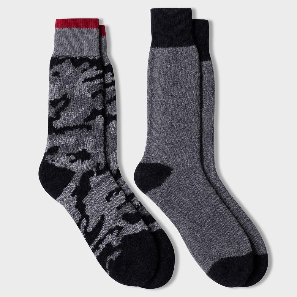 Image of Men's Camo Print Wool IQ Heavyweight Over the Calf Socks 2pk - Black 10-13