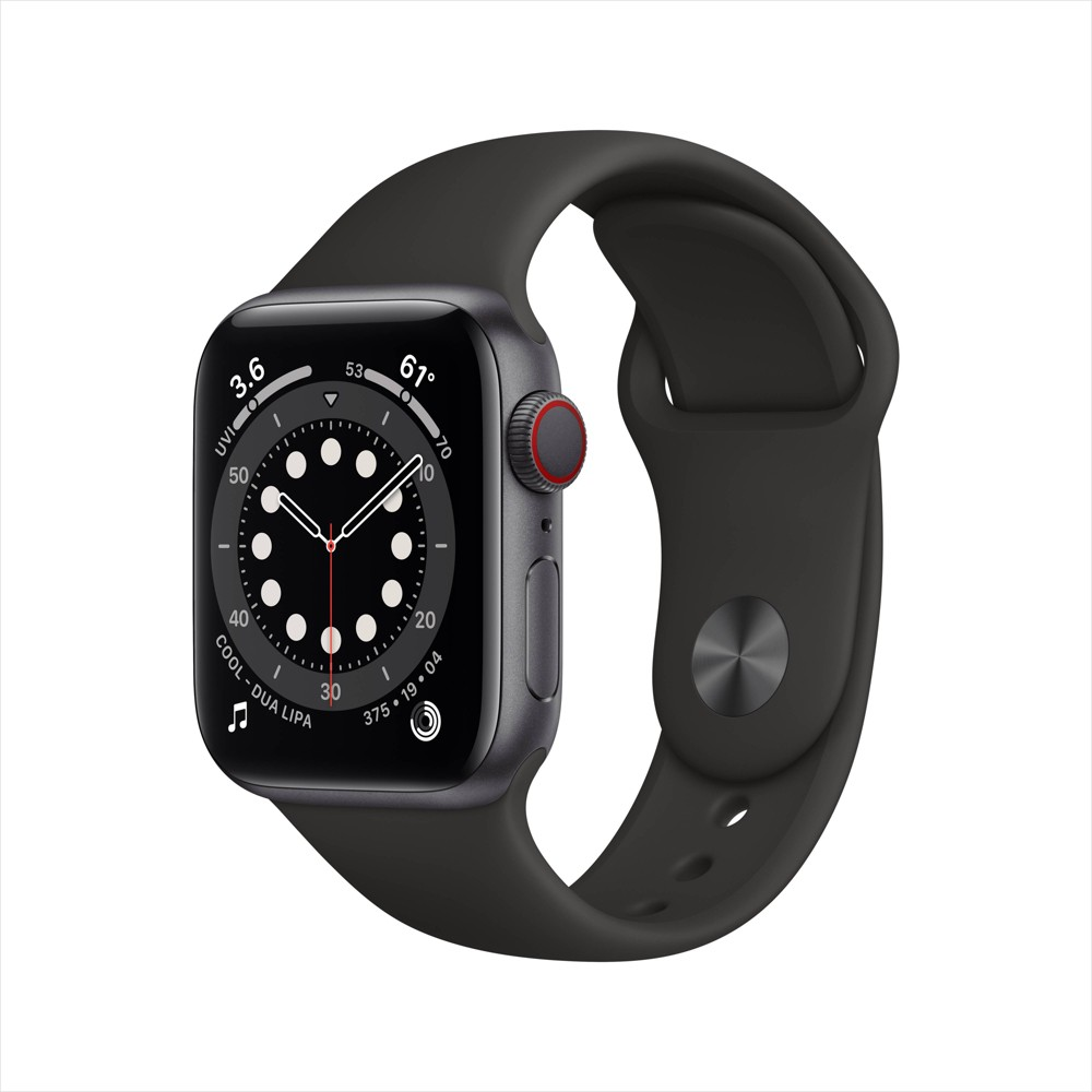 Apple Watch Series 6 Gps Cellular 40mm Space Gray Aluminum Case With Black Sport Band
