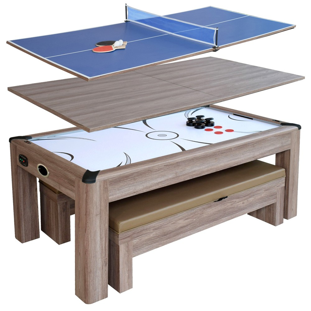 Hathaway Driftwood 7' Air Hockey Table Combo Set with Benches - Woodgrain