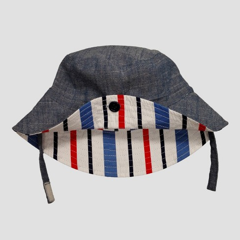 Baby Boys' Chambray & Stripe Reversible Bucket Hat - Cat & Jack™ Blue 12-24M - image 1 of 2