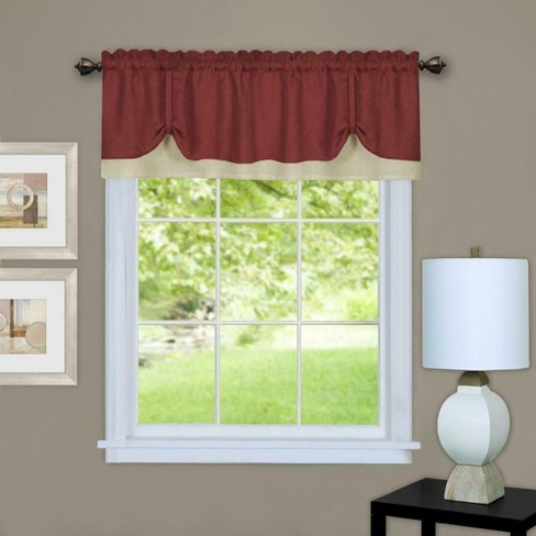 Kate Aurora Country Farmhouse Flax Linen Tie Up Window Valance - image 1 of 1