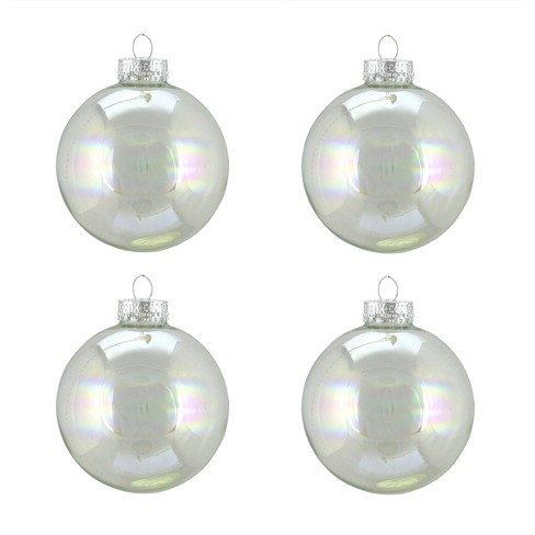 Northlight 4ct Iridescent Glass Ball Christmas Ornament Set 3 Clear