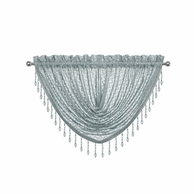 Kate Aurora Elegant Crystal Beaded Chevron Design Window Curtain Valances