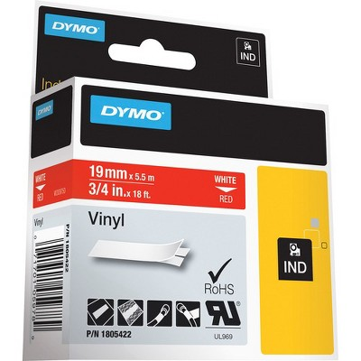 "Dymo Colored 3/4"" Vinyl Label Tape - Permanent Adhesive - 3/4"" Width x 18 3/64 ft Length - Rectangle - Thermal Transfer - Red, White - Vinyl - 1 Each"