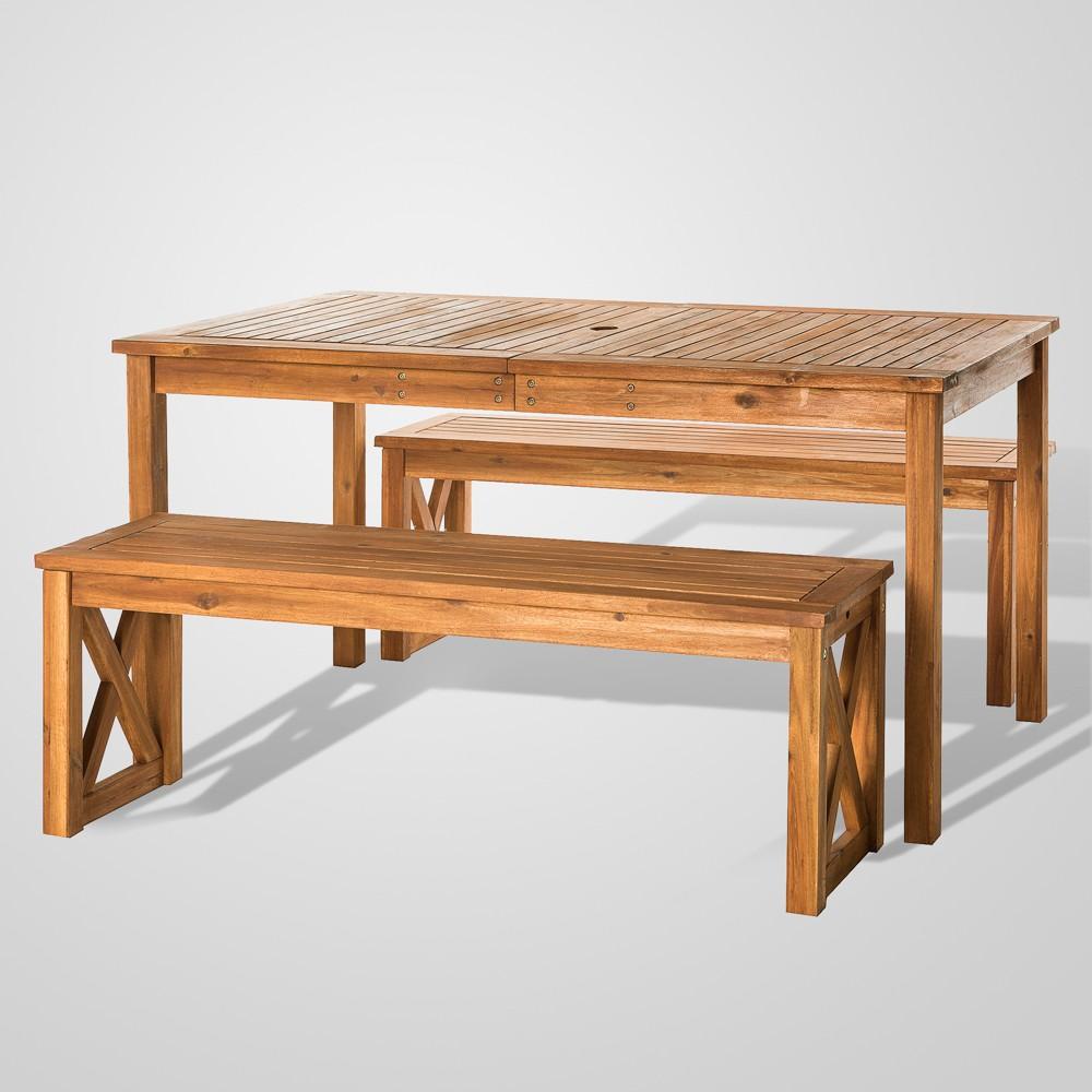 Image of 3pc Acacia Wood X Design Outdoor Patio Dining Set - Brown - Saracina Home
