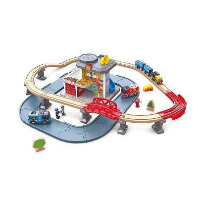 Select marketplaces Hape Emergency Services HQ 2 In 1 Police and Fire Station Complete Play Toy Set with Vehicles and Action Figures