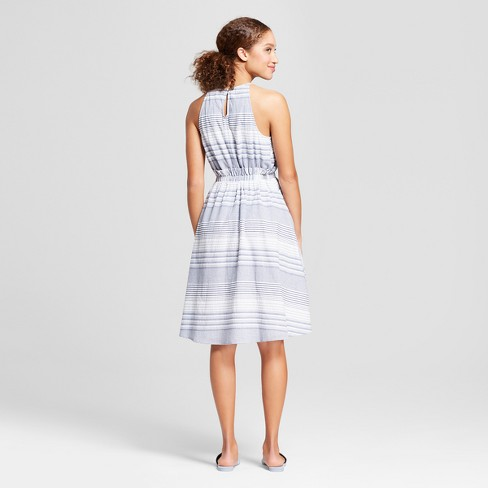 57aeb081ae1 Women s Striped Sleeveless Cinched Waist Dress - A New Day™ Blue White