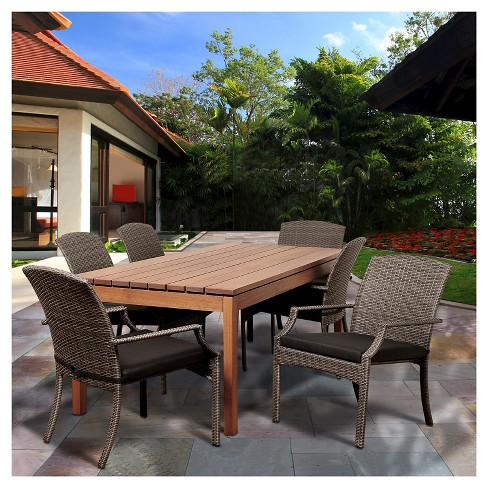 Ponte Vedra 7 pc Eucalyptus/Wicker Rectangular Patio Dining Set - Brown - image 1 of 7
