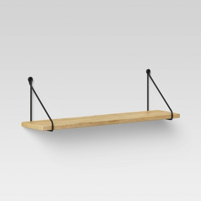 """24"""" x 6"""" Wood Wall Shelf with Hanging Wire Natural/Black - Threshold™"""