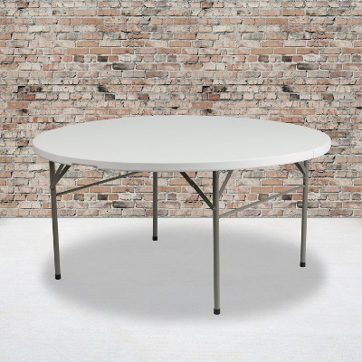 Flash Furniture 5-Foot Round Bi-Fold White Plastic Folding Table with Carrying Handle