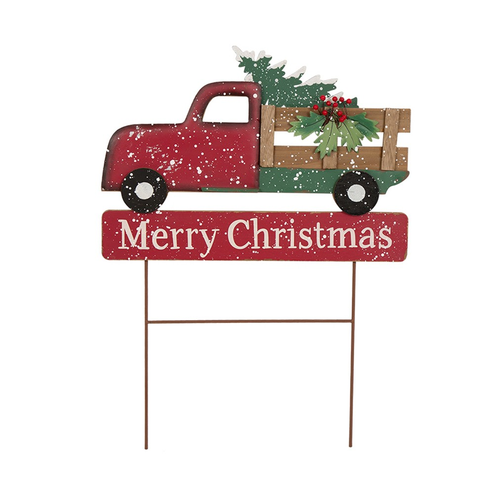 "Image of ""24"""" Iron/Wooden Christmas Truck Yard Stake - Glitzhome"""