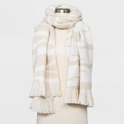 Women's Zebra Print Blanket Scarf - A New Day™ Beige