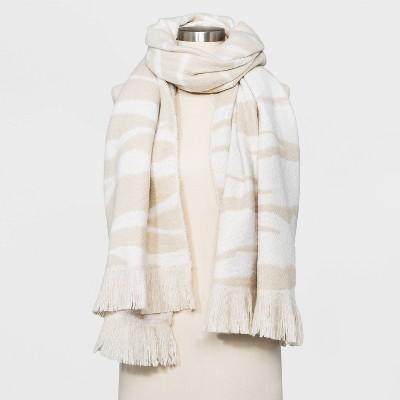 Women's Zebra Print Blanket Scarf - A New Day™ Beige
