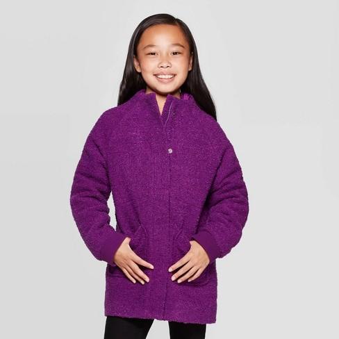 Girls' Boucle Jacket - Cat & Jack™ Purple - image 1 of 3