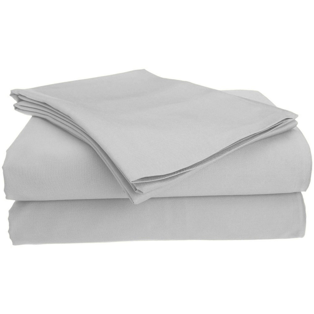 Image of Full Garment Wash Microfiber Solid Sheet Set Light Gray - Posh Home