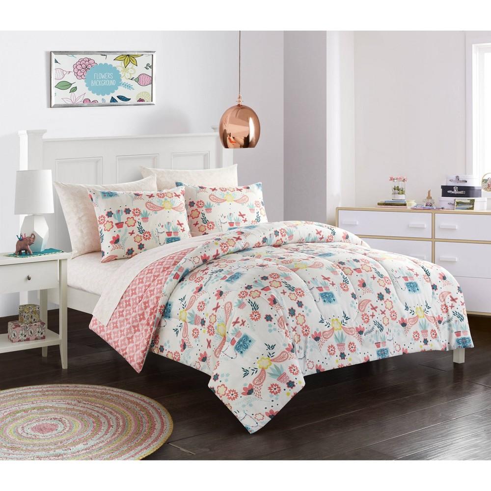 Image of Full Llama Comforter Set Peach - Heritage Club
