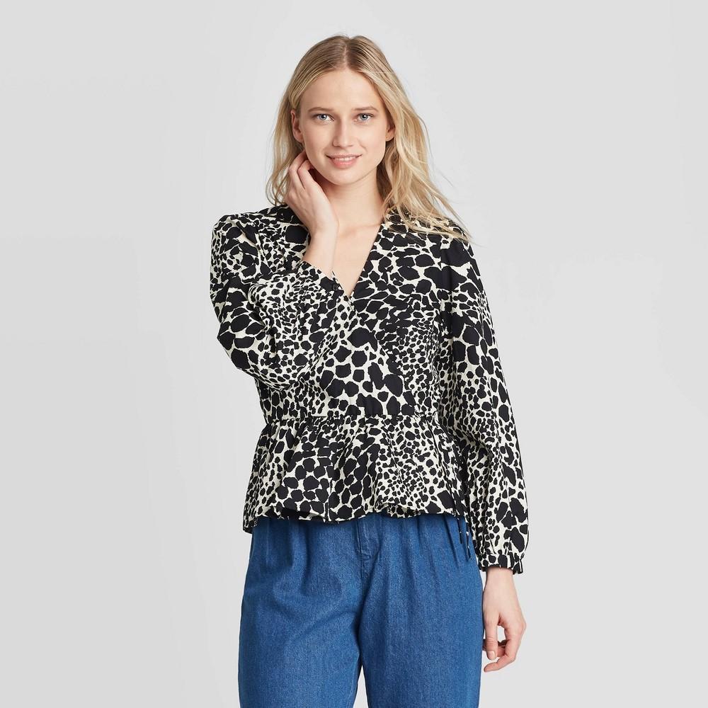 Women's Leopard Print Long Sleeve Wrapped Peplum Top - Who What Wear Black XXL, Women's was $29.99 now $20.99 (30.0% off)