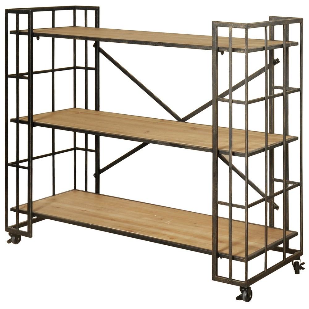 41.3 3 Shelf Industrial Bookcase Bronze - Stylecraft