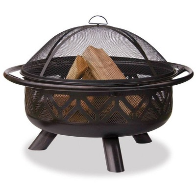 Oil Rubbed Bronze Outdoor Wood Burning Firebowl with Geometric Design - Endless Summer