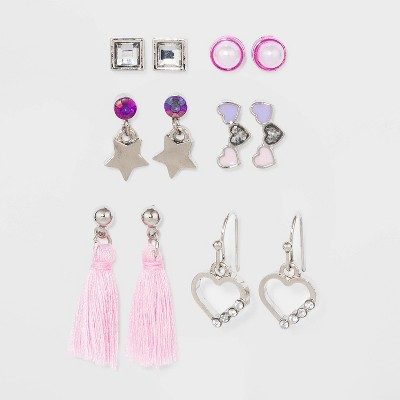 Girls' Multi Earring Set with Tassel and Heart - Cat & Jack™