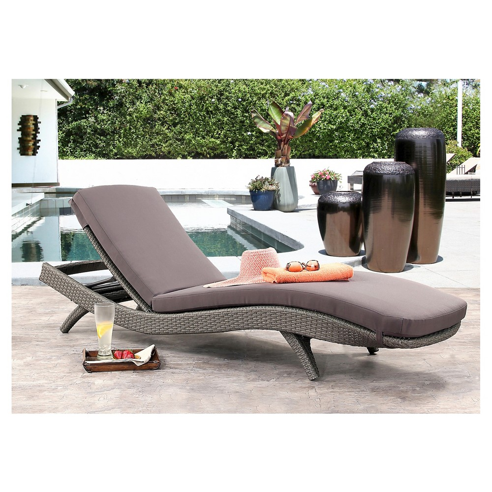 Marcelle Outdoor Wicker Adjustable Chaise Lounge with Cushion - Gray - Abbyson Living