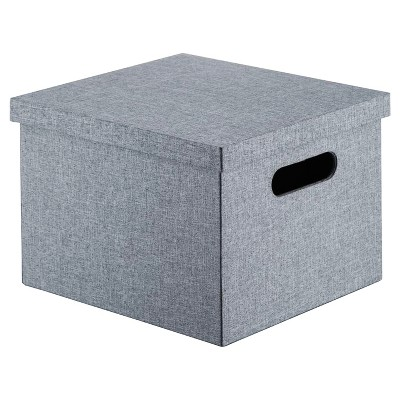 Lidded Milk Crate Storage Box 11  - Gray - Room Essentials™