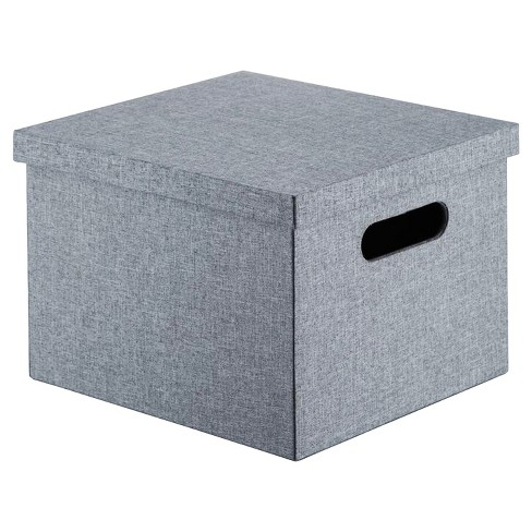 "Lidded Milk Crate Storage Box 11"" - Gray - Room Essentials™ - image 1 of 1"