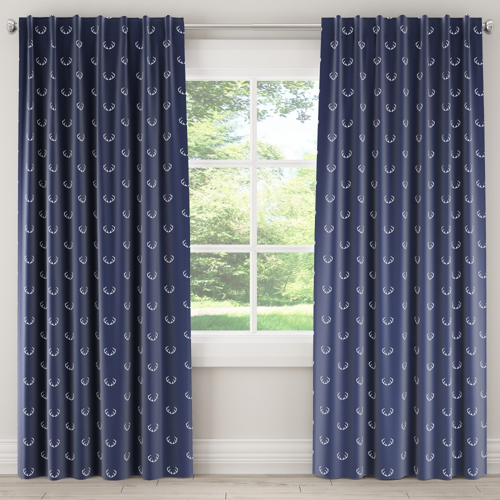 Unlined Curtain Antler Navy (Blue) 63L - Skyline Furniture