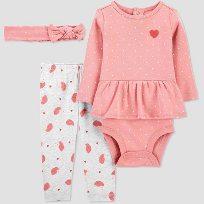 Baby Girls' 3pc Heart/Hedgehog Print Top and Bottom Set with Headband - Just One You® made by carter's Pink/White Newborn