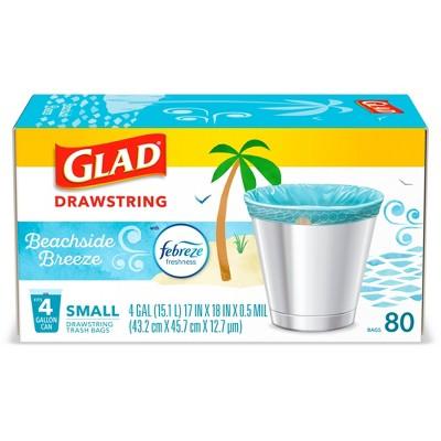 Glad Drawstring Small Trash Bags - Beachside Breeze - 4 Gallon - 80ct