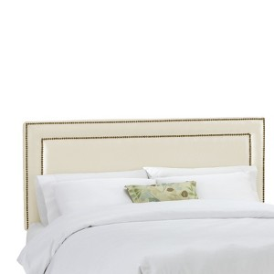 California King Fremont Nail Button Border Headboard Shantung Parchment - Skyline Furniture