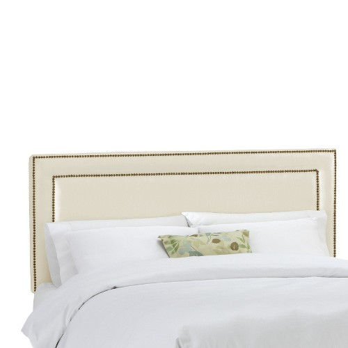Full Fremont Nail Button Border Headboard Shantung Parchment - Skyline Furniture