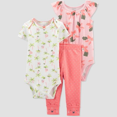 Baby Girls' Floral Top & Bottom Set - Just One You® made by carter's Coral Newborn