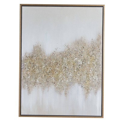 "30"" x 40"" Rectangular Abstract Textured Canvas Wall Art with Gold Wood Frame Gold/Gray - Olivia & May"