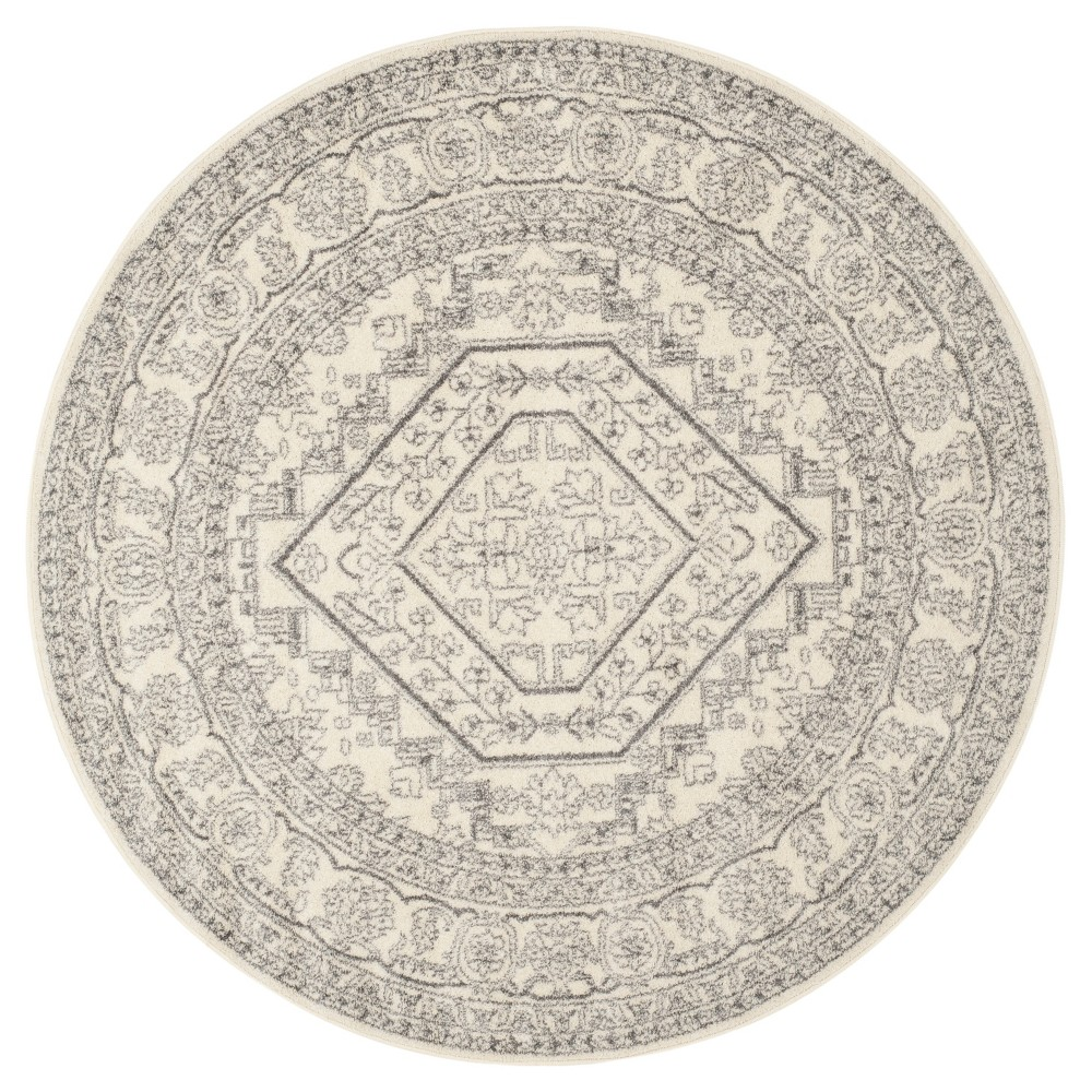 Round Aldwin Area Rug Ivory/Silver