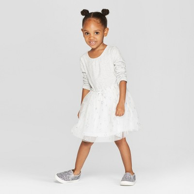 Toddler Girls' Long Sleeve Tutu Dress with Mesh Skirt - Cat & Jack™ Heather Gray 12M