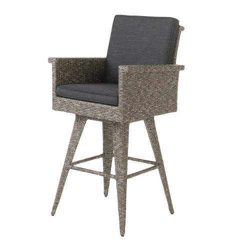 Puerta Wicker Barstool - Mixed Black - Christopher Knight Home - image 1 of 4
