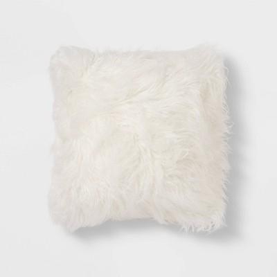 Square Faux Fur Decorative Throw Pillow Cream - Threshold™