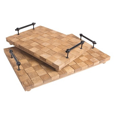 Wood Patchwork Trays - Set of 2 - Go Home