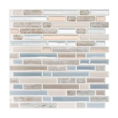 "Smart Tiles 3D Peel and Stick Backsplash 4 Sheets of 10.06"" x 10"" Kitchen and Bathroom Wallpaper Bellagio Elena"